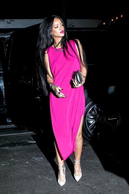 Rihanna in Hot Pink Hi-Low Dress