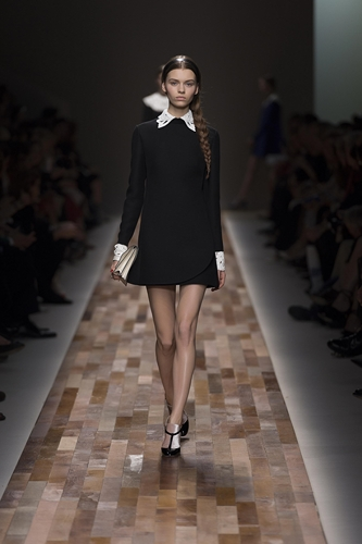 VALENTINO Wool and silk-blend dress with embellished leather fall/winter2013