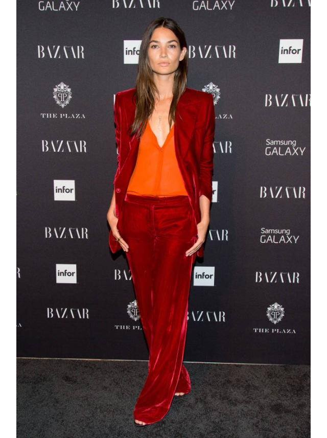Lily Aldridge:in a red velvet pantsuit from Emilio Pucci's Fall 2014