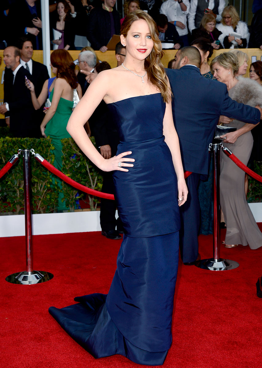 Jennifer Lawerence in a Blue Dior Haute Couture dress and Chopard jewelry. at the SAG Awards 2013