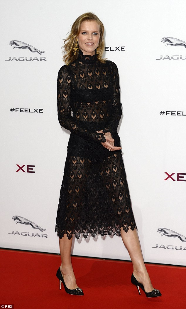 Eva Herzigova in a black lace dress at the launch of the Jaguar XE on Monday in London