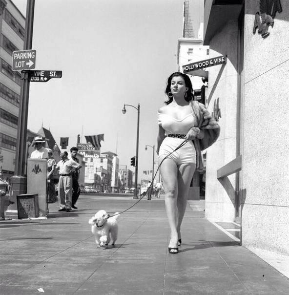 Actress Joan Bradshaw  on Hollywood Boulevard, 1957