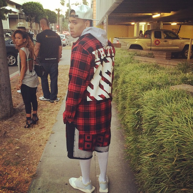 Chris-Brown-wears-Off-white-Plaid-Check-Shirt-and-Rick-Owens-Sneakers-Shoes