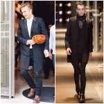 David Beckham wears  Saint Laurent at  Victoria Beckham London store opening