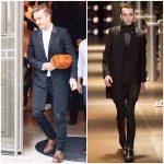 David Beckham wears  Saint Laurent at  Victoria Beckham London store opening