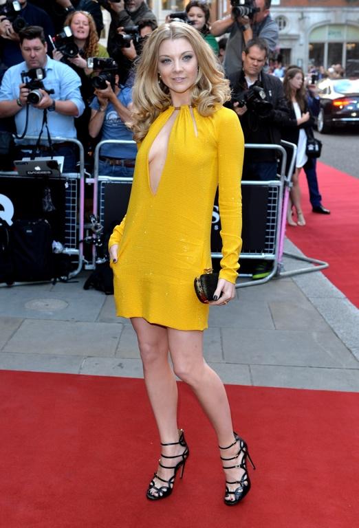 Natalie Dormer in yellow Emilio Pucci dress