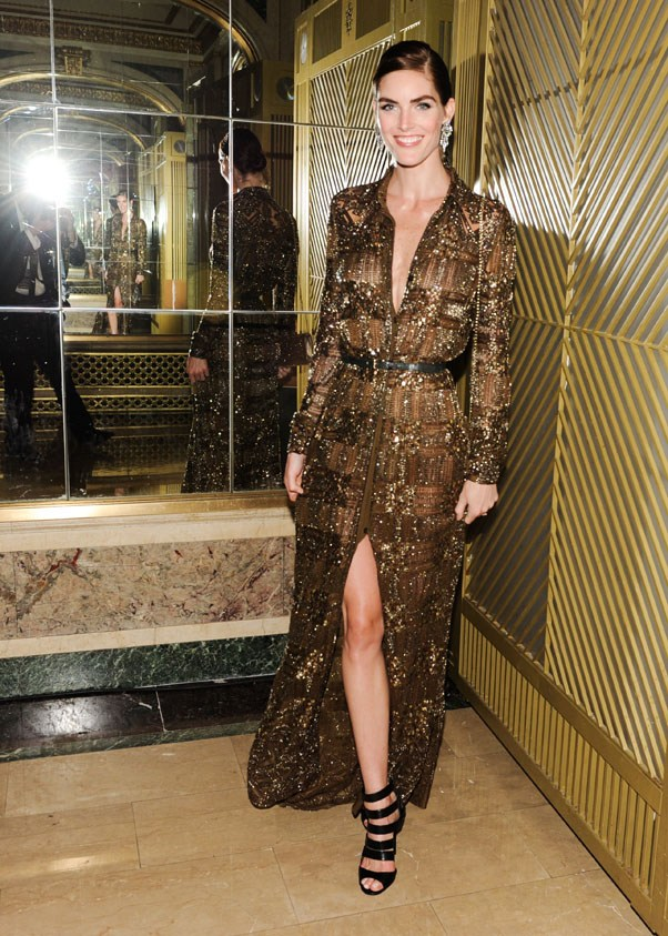 Model Hilary Rhoda in a beaded gown from Emilio Pucci's Fall 2014 collection