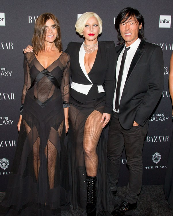 BAZAAR's Global Fashion Director Carine Roitfeld with Lady Gaga and V Magazine founder Stephen Gan