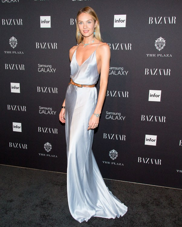 Victoria's Secret Angel Candice Swanepoel in a metallic silver Kaufmanfranco gown