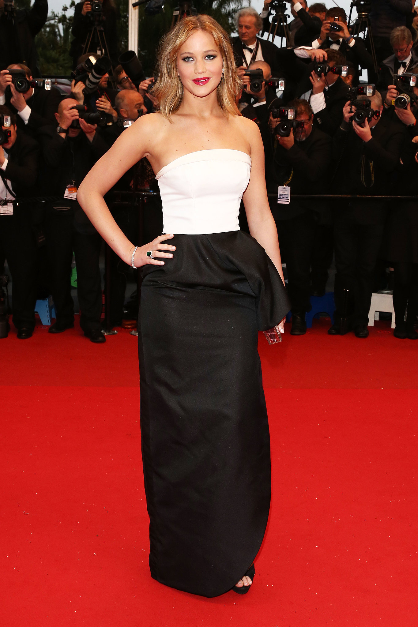 Jennifer Lawrence in a Dior dress at the Jimmy P. premiere.