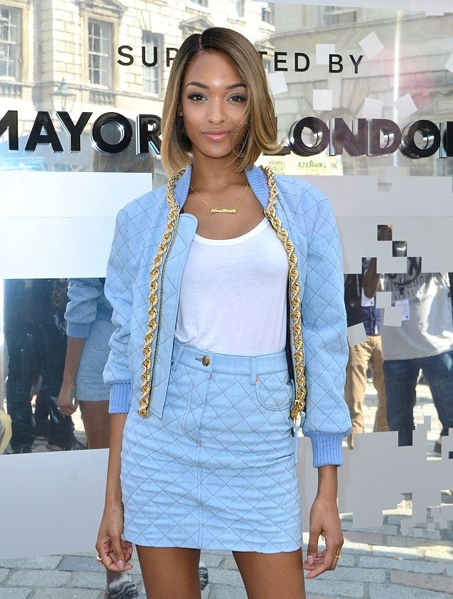 Jourdan-Dunn-In-Moschino-Fall-2014-Quilted-Denim-Bomber-with-Chain-Trim-and-Mini-Skirt-at-Somerset-House-Kicking-Off-London-Fashion-Week-5