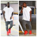Kanye West wearing  Haider Ackermann Sweatpants, Yeezus Tour Tee,  and Nike Air Yeezy 2 Sneakers