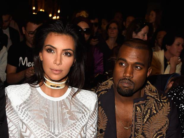 Kim Kardashian and -Kanye- West -at- Balmain -Spring- 2015- Front- Row