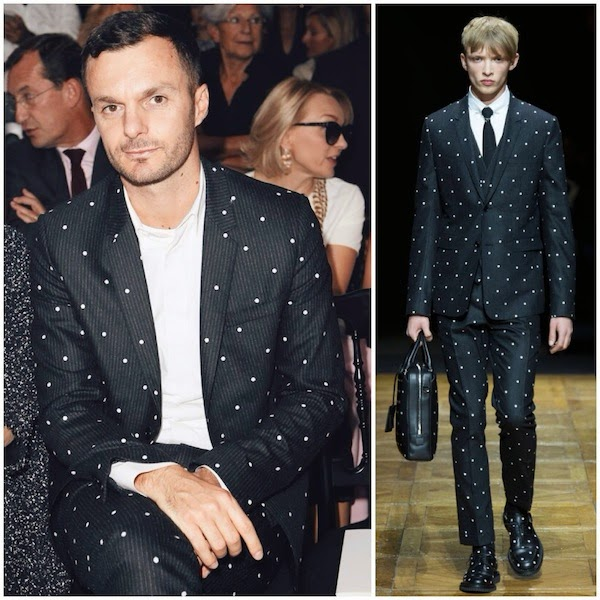 Kris Van Assche wears Dior Homme Fall Winter 2014 polka dot embroidered suit to Christian Dior Spring Summer 2015 show  Kris Van Assche wears Dior Homme at Paris Fashion Week SS2015