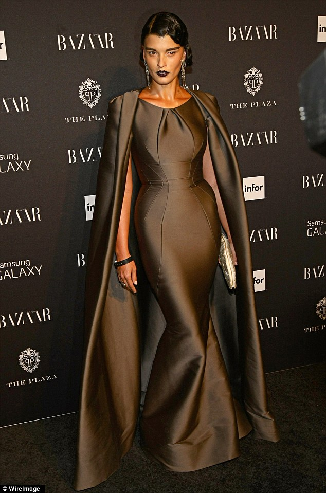 Crystal -Renn - in- Zac- Posen- at- Harper's -BAZAAR- Celebrates- Icons- By- Carine -Roitfeld -Carpet- Roundup