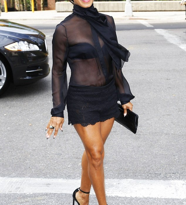 Jada Pinkett  Smith in   sheer top and lace  shorts  at Dennis Basso show for NYFW