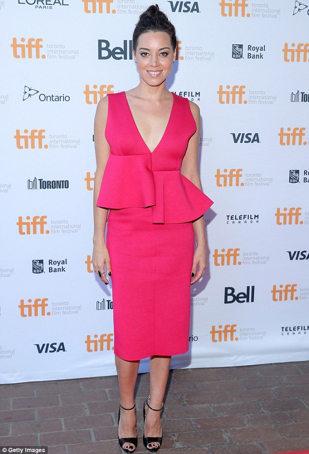 aubrey plaza is sophisticated chic in a hot pink dress as she attends premiere of ned rifle at tiff1 Aubrey Plaza in Marni at the Ned Rifle 2014 TIFF Premiere