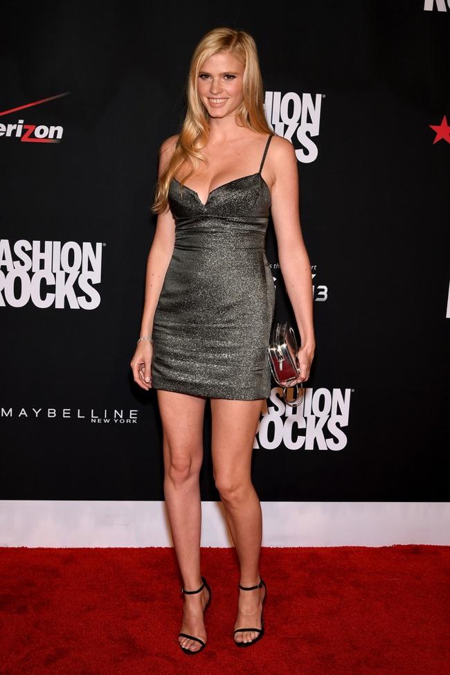 Lara Stone in a metallic Calvin Klein Collection dress