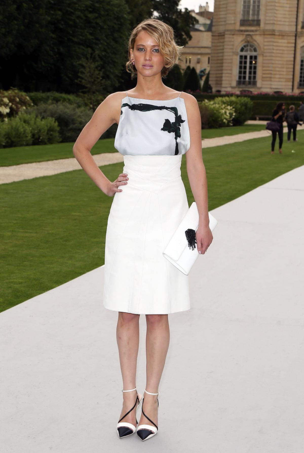 In a white and black dress at The Christian Dior Show in Paris on July 7, 2014