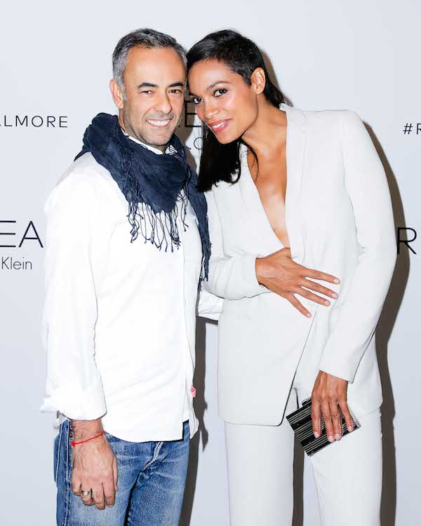Rosario Dawson in a white suit with Francisco Costa, Calvin Klein Collection Women's Creative Director