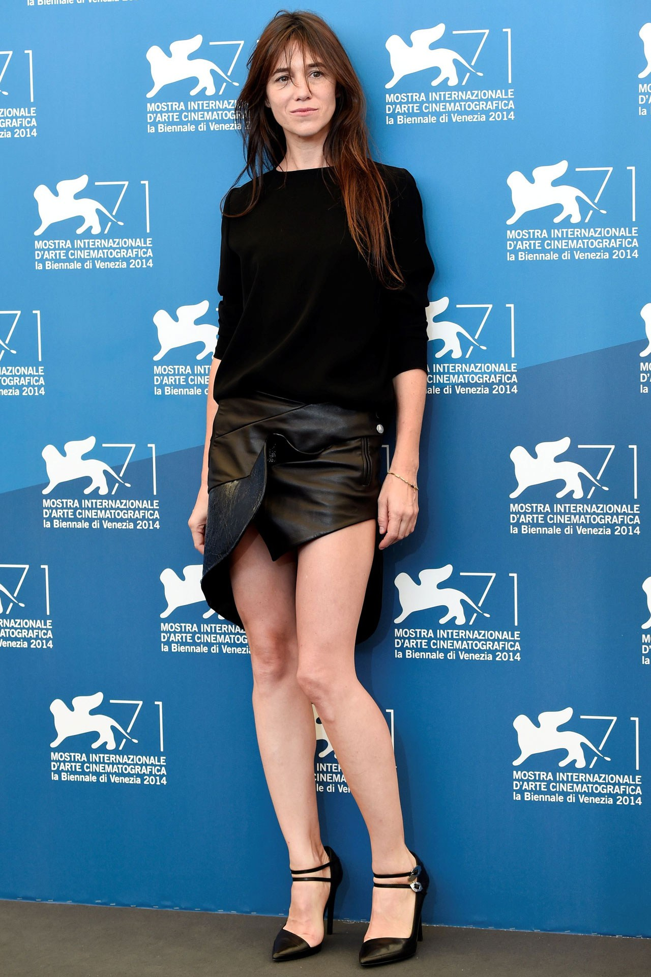 tumblr nb7xrfzq2X1s30zs3o1 1280 Charlotte Gainsbourg wears  Anthony Vaccarello at The  '3 Coeurs' Venice Film Festival Photocall