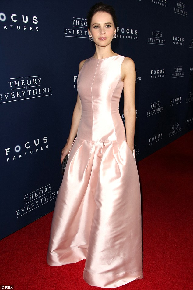 1414555942173 Image galleryImage Mandatory Credit Photo by Felicity Jones  wears  Dior – 'The Theory Of Everything' LA Premiere