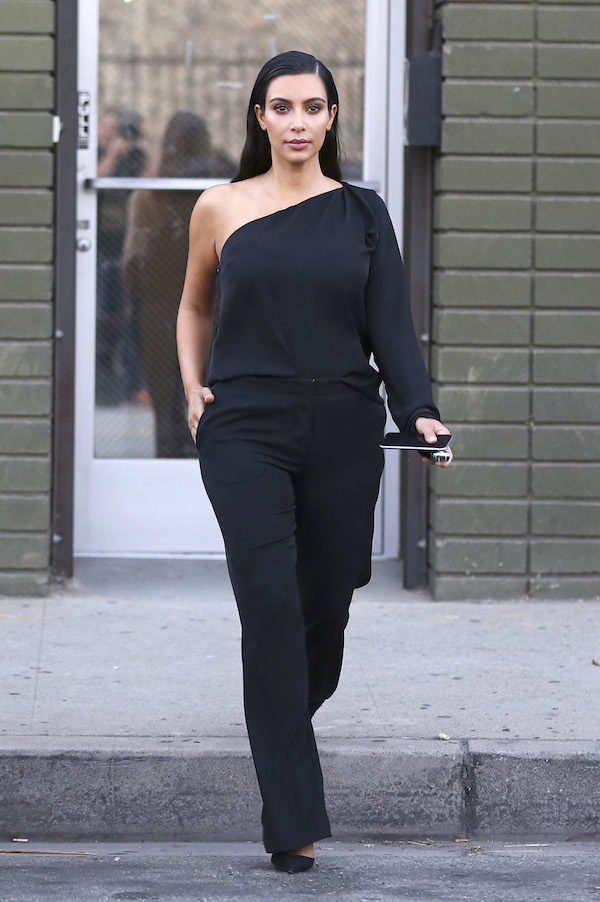 3-Kim-Kardashians-Calabasas-Maison-Martin-Margiela-Black-One-Shoulder-Jumpsuit-
