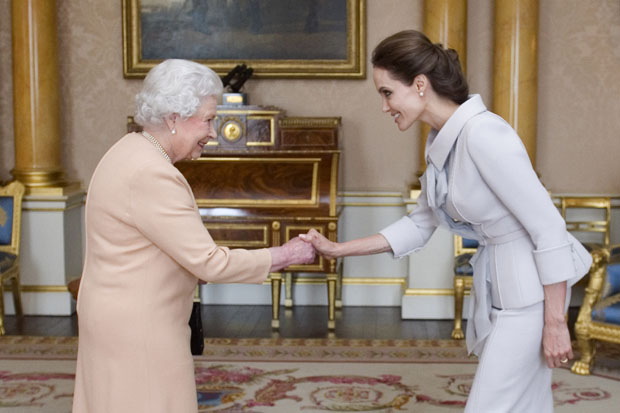 angelina-jolie-ralph-russo-insignia-honorary-dame-grand-cross-presentation/an-audience-with-queen-elizabeth