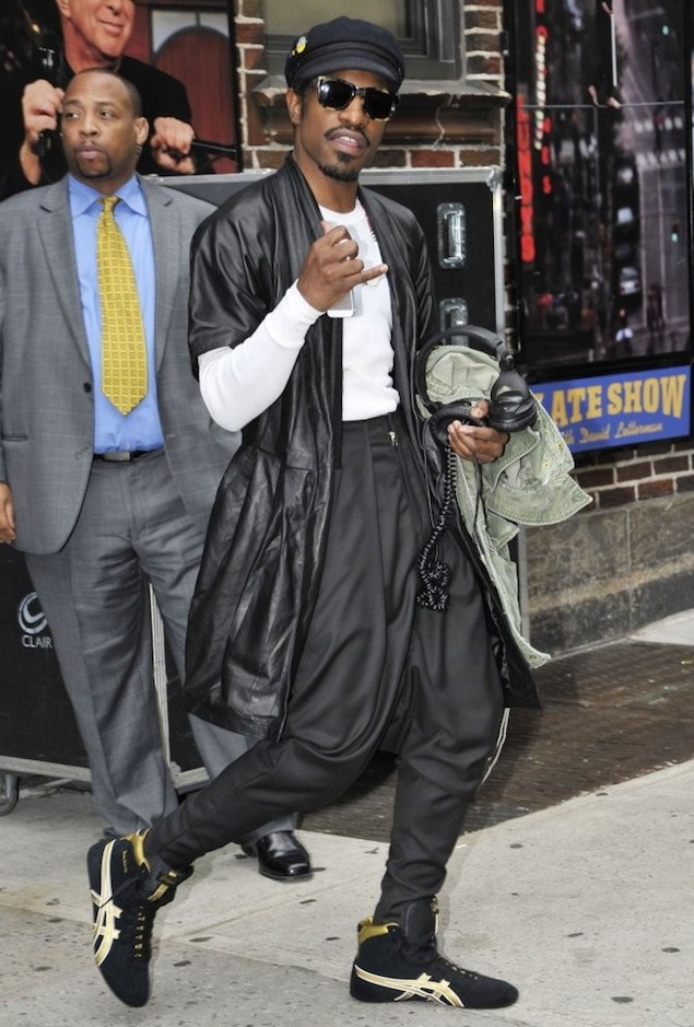 Andre-3000-Leather-coat-Asics-Gable-Classic-2-sneakers