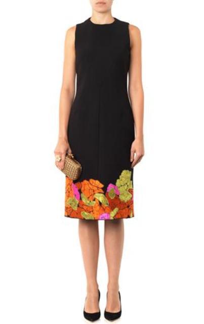 BOTTEGA-VENETA-Flower-embroidered-crepe-dress