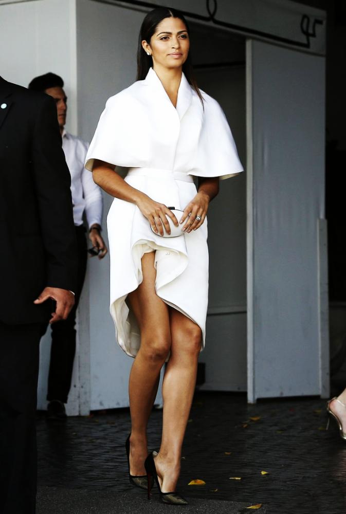 Camila Alvess VogueCFDA Fashion Fund Luncheon Ashi Spring 2015 Custom Off White Brushed Satin Dress 673x1000 Camila Alves   attends  the Vogue/CFDA Fashion