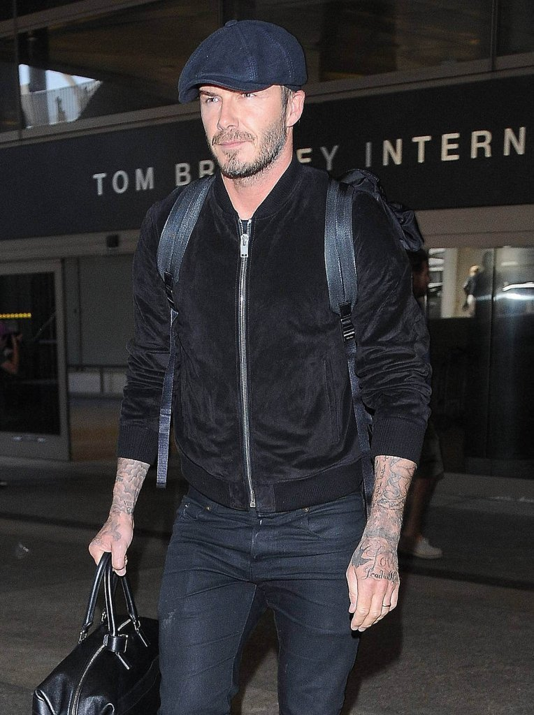 David Beckham Suede Bomber David Beckham Arrives at LAX  in  Saint Laurent  and Adidas Sneakers