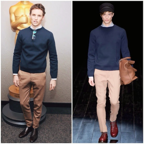 Eddie+Redmayne+wears+Gucci+Fall+Winter+2014+navy+knitwear+and+beige+trousers+to+'The+Theory+of+Everything'+Screening+in+NYC+21+October+2014