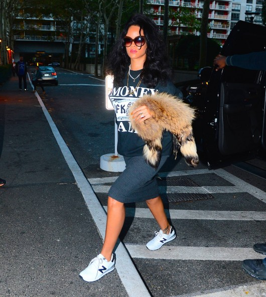 Get-the-Look-Rihanna-SpyeSHICNYC-Money-Talks-Sweatshirt-New-Balance-574-Sneakers-in-White-and-Grey-and-Italia-Independent-0092V-Brown-Velvet-Sunglasses-fbd2-530×592