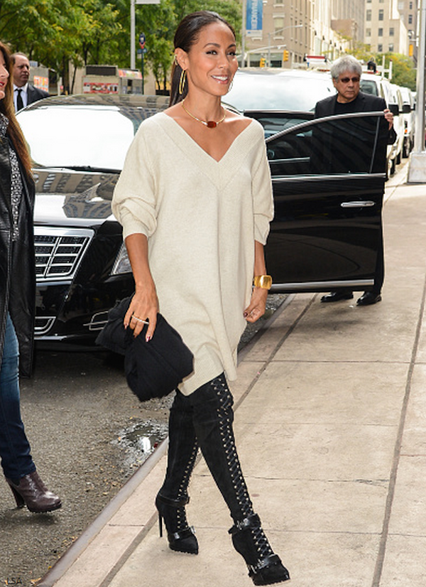 Jada Pinkett Smith was spotted at Sirius XM sporting a sweater dress and statement lace up boots. Werk 1 Jada Pinkett Smith in  Emilio Pucci Suede  Boots   SiriusXM Studios