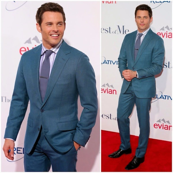 James+Marsden+wears+Thom+Sweeney+teal+coloured+suit+to+The+Best+Of+Me+premiere+Los+Angeles+October+2014