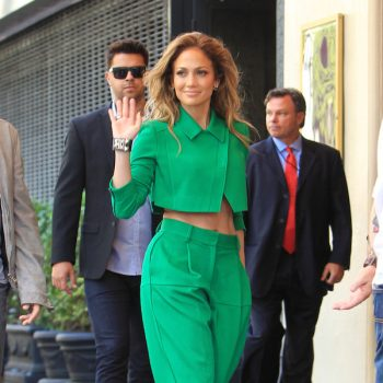 Jennifer-Lopezs-American-Idol-Green-Suit-and-Christian-Louboutin-Mrs-Boulglione-Cutout-Red-Sole-Bootie-copy