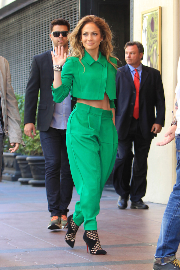 Jennifer Lopezs American Idol Green Suit and Christian Louboutin Mrs Boulglione Cutout Red Sole Bootie copy Jennifer Lopez wears  ICB – 'American Idol' 'Hollywood Week' Auditions