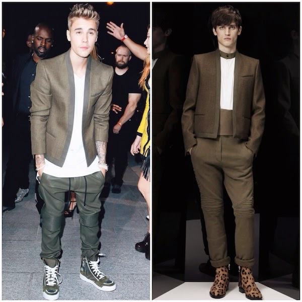 Justin+Bieber+wears+Balmain+Homme+Fall+Winter+2014+khaki+military+green+cropped+jacket+in+Paris+September+2014