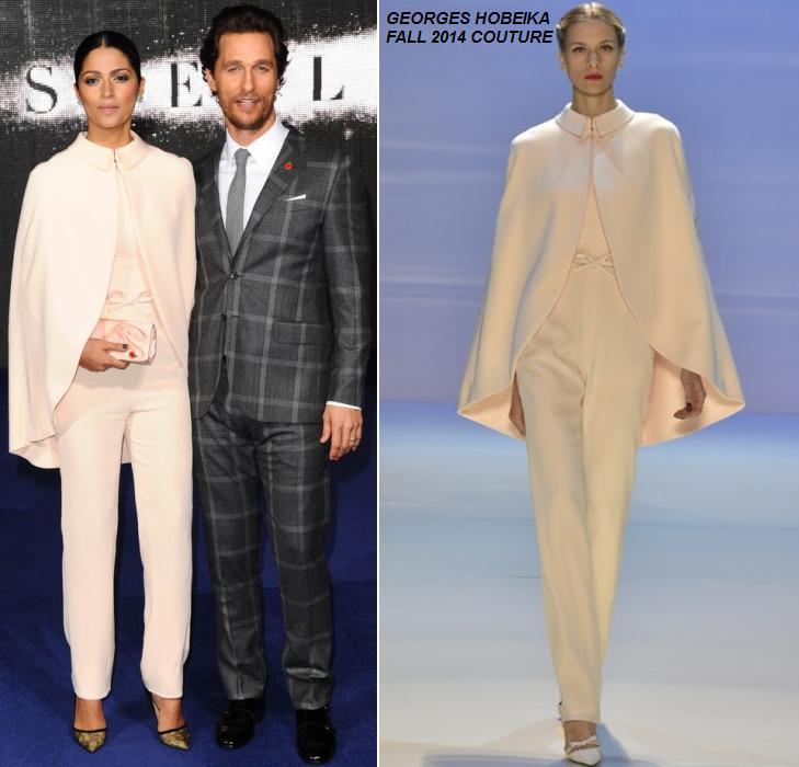 Matthew McConaughey and Camila Alves  Matthew McConaughey In Kent and Curwen   & Camila Alves In Georges Hobeika Couture – 'Interstellar' London Premiere