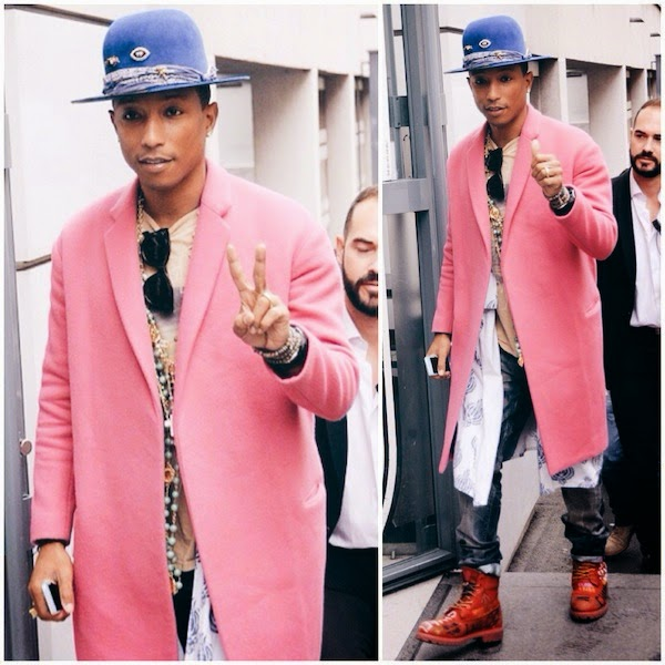 Pharell+Williams+wears+pink+Celine+Fall+2014+coat+with+blue+Nick+Fouquet+hat+in+Paris+15th+October+2014