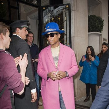 Pharrell-In-Celine-Fall-2014-Pink-Cashmere-Coat-Leaving-The-Four-Seasons-George-V-Hotel-in-Paris-21