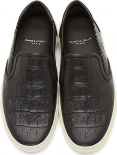 Saint-Laurent-black-leather-croc-textured-slip-on-sneakers-5-232x308