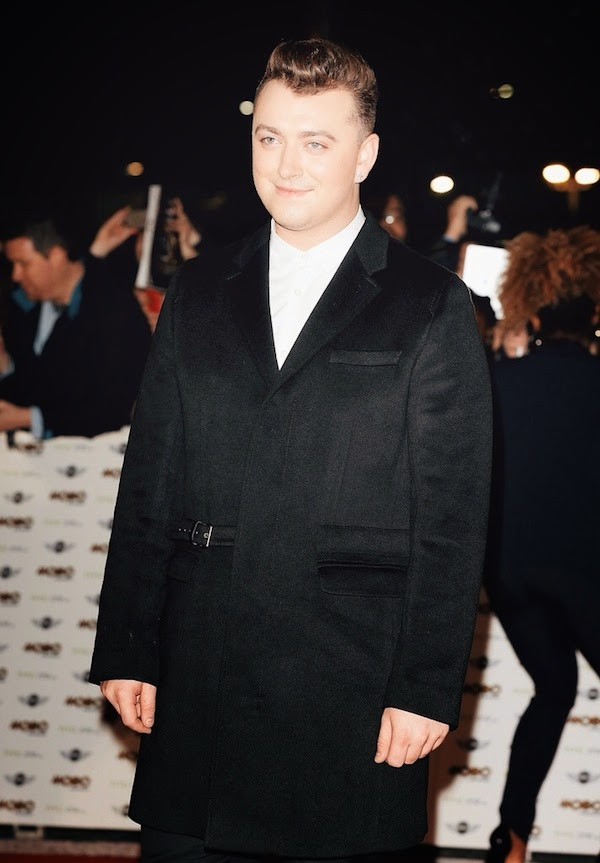 Sam+Smith+wears+Pringle+Of+Scotland+half+belted+coat+to+MOBO+Awards+in+London+-+October+2014