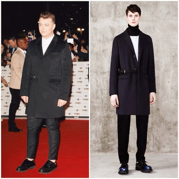 Sam+Smith+wears+Pringle+Of+Scotland+half+belted+coat+to+MOBO+Awards+in+London+October+2014