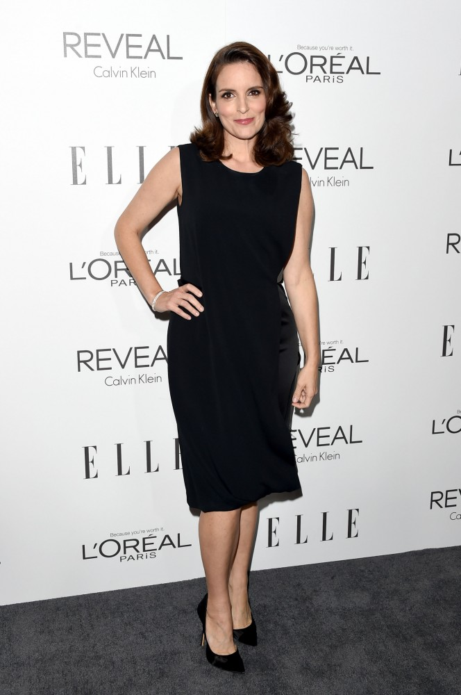 Tina Fey in a black sleeveless Calvin Klein dress