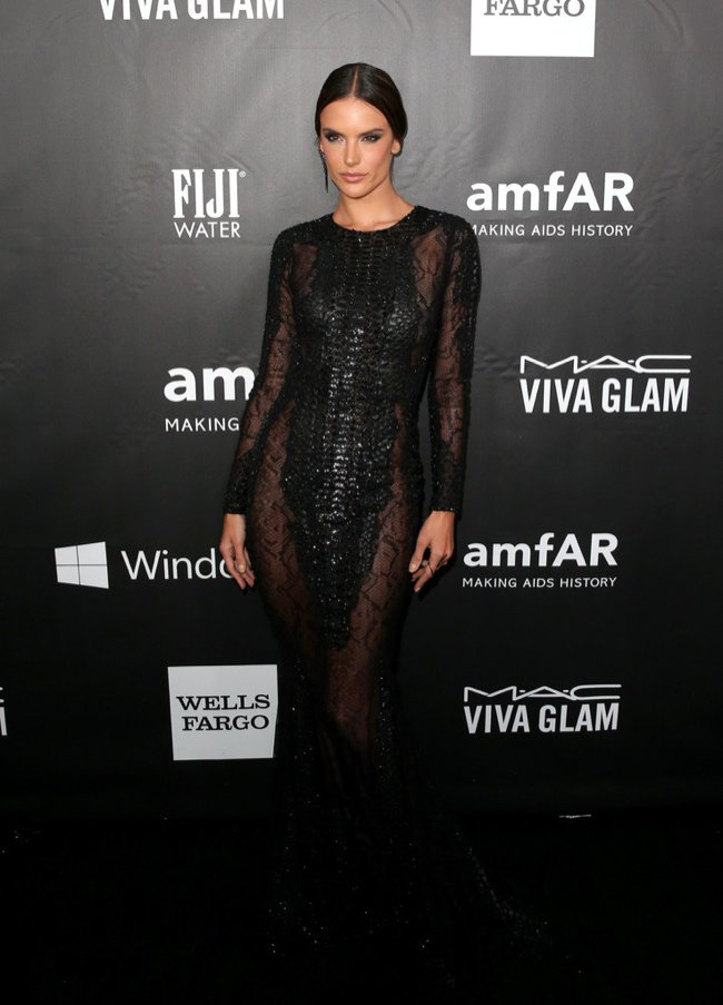 Alessandra Ambrosio is wearing a black Zuhair Murad gown