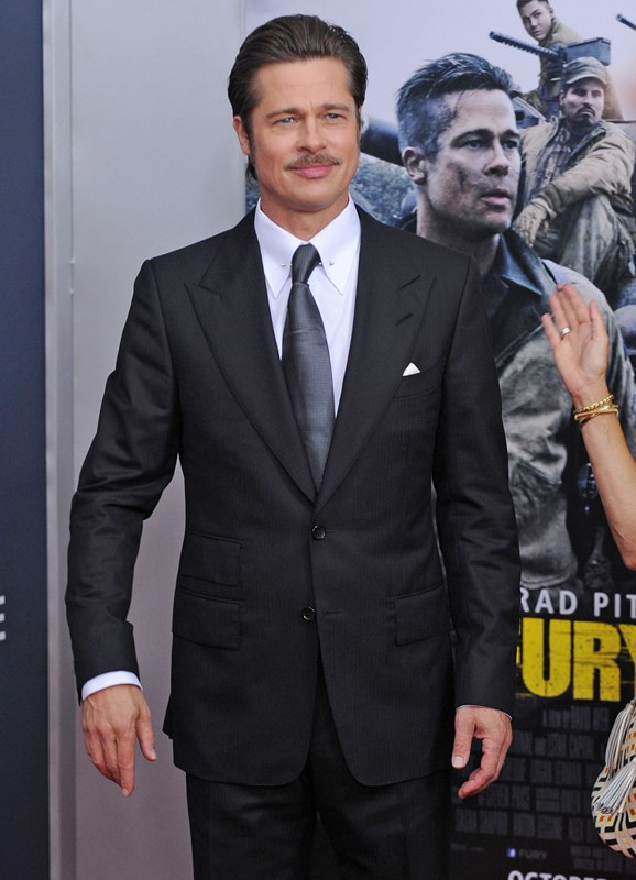 Brad-Pitt-Fury-Washington-DC-Movie-Premiere-Red