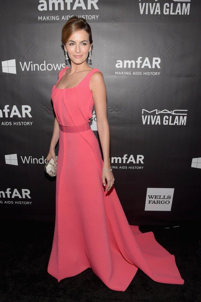 Camilla Belle in a pink Carolina Herrera dress