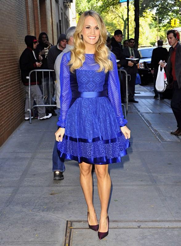 carrie underwood blue 28oct14 05 Carrie Underwood wears  Temperley London – The View